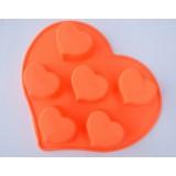 Molde silicona 6 corazones