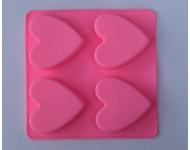 Molde silicona 4 corazones